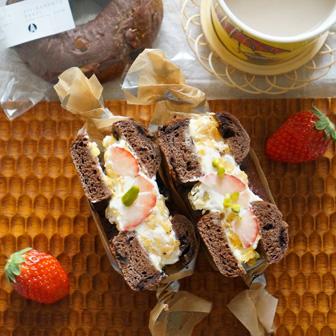 チョコとフルーツのベーグルサンドウィッチ 画像1