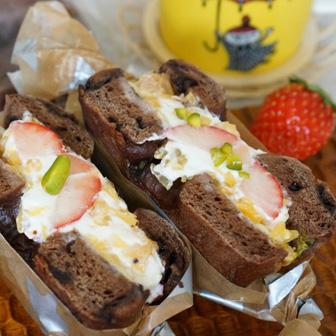 チョコとフルーツのベーグルサンドウィッチ 画像2