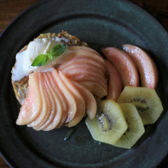桃のせフレンチトースト |  ベーグルレシピ 画像3
