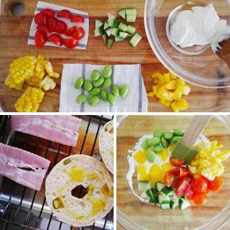 つぶつぶ夏野菜のさわやかサンド |  ベーグルレシピ 画像2