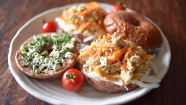 ネギマヨ&豆腐とお野菜のオープンサンド