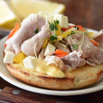 豚しゃぶベーグルサンドウィッチ  |  ベーグルレシピ 画像1
